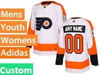 Mens Philadelphia Flyers Custom Made White Away Adidas Jersey