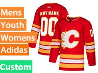 Mens Adidas Calgary Flames Custom Made Red Alternate Jersey