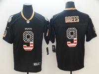 Mens Nfl New Orleans Saints #9 Drew Brees Usa Flag Fashion Black Vapor Untouchable Limited Jersey