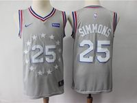 Mens 2018-19 Nba Philadelphia 76ers #25 Ben Simmons Gray Nike City Edition Jersey