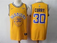 Mens 2018-19 Nba Golden State Warriors #30 Stephen Curry Yellow Swingman Jersey