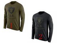 Mens Nfl Oakland Raiders Salute To Service Sideline Legend Performance Long Sleeve T-shirt 2 Colors