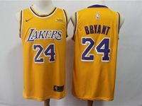 Mens 2018-19 Nba Los Angeles Lakers #24 Kobe Bryant Yellow Nike Swingman Jersey