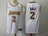 Mens 2018-19 Nba Los Angeles Lakers #2 Lonzo Ball White Nike Swingman Jersey