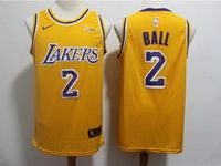 Mens 2018-19 Nba Los Angeles Lakers #2 Lonzo Ball Yellow Nike Swingman Jersey
