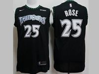 Mens Nba Minnesota Timberwolves #25 Derrick Rose Black Nike Hardwood Classics Swingman Jersey
