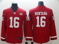 Mens Nfl San Francisco 49ers #16 Joe Montana Red Nike Therma Long Sleeve Jersey