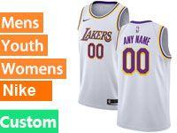 Mens Women Youth Nba 2018-19 Los Angeles Lakers Custom Made White Nike Swingman Jersey