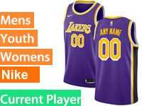 Mens Women Youth 2018-19 Nba Los Angeles Lakers Current Player Nike Swingman Purple Jersey