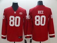 Mens Nfl San Francisco 49ers #80 Jerry Rice Red Nike Therma Long Sleeve Jersey