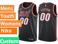 Mens 2017-18 Season Nba Miami Heat Custom Made Black Throwback Nike Swingman Jersey