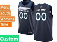 Mens Womens Youth 2017-18 Nba Minnesota Timberwolves Custom Made Blue Nike Swingman Jersey