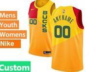 Mens Womens Youth 2018-19 Nba Milwaukee Bucks Custom Made Yellow & Red Splitting City Edition Jersey