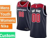 Mens Womens Youth Nba Washington Wizards Custom Made Blue Swingman Nike Jersey