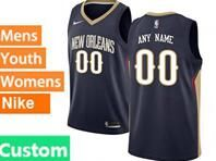 Mens Womens Youth 2017-18 Nba New Orleans Pelicans Custom Made Dark Blue Jerseys
