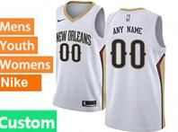 Mens Womens Youth 2017-18 Nba New Orleans Pelicans Custom Made White Jerseys