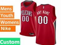 Mens Womens Youth 2017-18 Nba New Orleans Pelicans Custom Made Red Jerseys