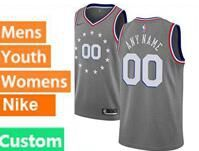 Mens Womens Youth 2018-19 Nba Philadelphia 76ers Custom Made Gray Nike City Edition Jersey