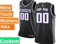 Mens Womens Youth Nba Sacramento Kings Custom Made Black Nike Jersey