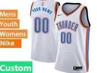 Mens Womens Youth 2017-18 Nba Oklahoma City Thunder Custom Made White Nike Swingman Jersey