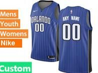 Mens Womens Youth Nba Orlando Magic Custom Made Blue Stripe Swingman Jersey