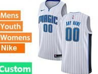 Mens Womens Youth Nba Orlando Magic Custom Made White Stripe Swingman Jersey