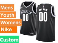 Mens Women Youth Nba Brooklyn Nets Custom Made Nike Icon Edition Black Jersey