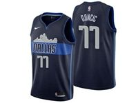 Mens Nba Dallas Mavericks #77 Luka Doncic Dark Blue City Edition Jersey