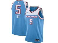 Mens 2018-19 Nba Sacramento Kings #5 De'aaron Fox Light Blue City Edition Swingman Jersey