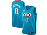 Mens 2018-19 Nba Oklahoma City Thunder #0 Russell Westbrook Sky Blue City Edition Swingman Jersey