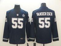 Mens Dallas Cowboys #55 Leighton Vander Esch Blue Nike Therma Long Sleeve Jersey