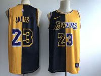 Mens Nba Los Angeles Lakers #23 Lebron James Nike Split Yellow&black Jersey