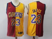 Mens Nba Cleveland Cavaliers #23 Lebron James Nike Split Yellow&re Jersey
