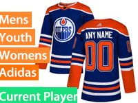 Mens Women Youth Adidas Edmonton Oilers Current Player Royal Blue Alternate Jersey