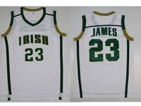 Mens Ncaa Nba Notre Dame Fighting Irish #23 Lebron James (irish) White Jersey