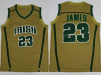 Mens Ncaa Nba Notre Dame Fighting Irish #23 Lebron James (irish) Yellow Jersey
