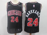 Mens Nba Chicago Bulls #24 Lauri Markkanen Bulls Black Nike Swingman Jersey
