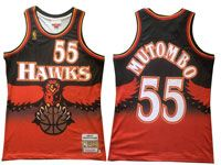 Mens Nba Atlanta Hawks #55 Dikembe Mutombo Black Orange Mitchell&ness Hardwood Classics Swingman Jersey