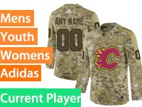 Mens Women Youth Adidas Calgary Flames Current Player Camo Jersey
