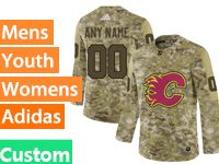 Mens Women Youth Adidas Nhl Calgary Flames Custom Made Camo Jersey