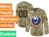 Mens Women Youth Adidas New York Islanders Custom Made Camo Jersey