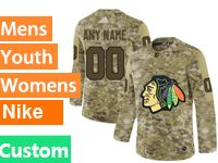 Mens Women Youth Adidas Chicago Blackhawks Custom Made Camo Jersey