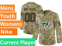 Mens Women Youth Adidas Nashville Predators Current Player Camo Jersey