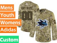 Mens Women Youth Adidas San Jose Sharks Custom Made Camo Jersey
