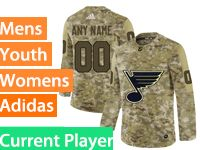 Mens Women Youth Adidas St.louis Blues Current Player Camo Jersey
