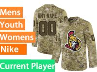 Mens Women Youth Adidas Ottawa Senators Current Player Camo Jersey