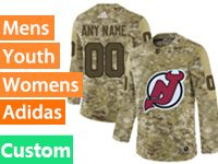 Mens Women Youth Adidas New Jersey Devils Custom Made Camo Jersey