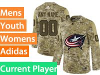 Mens Women Youth Adidas Columbus Blue Jackets Current Player Camo Jersey