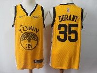 Mens Nba Golden State Warriors #35 Kevin Durant Nike 2018-19 Swingman Yellow Earned Edition Jersey