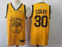 Mens Nba Golden State Warriors #30 Stephen Curry Nike 2018-19 Swingman Yellow Earned Edition Jersey